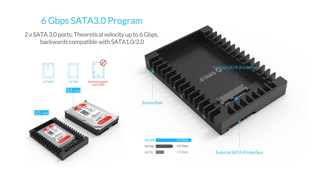 SSD 2.5 to 3.5 Passive Heat dissipation Hard Drive Adapter